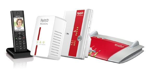 Afbeelding van AVM-producten zoals FRITZ!Box 7390, FRITZ!Fon, FRITZ!Repeater 300E en FRITZ!Powerline