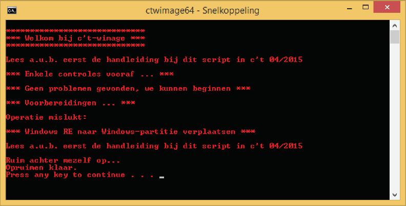 Bij fouten wordt de tekstkleur van het script rood. Het script kan veel fouten zelf oplossen, dan gaat het als het de volgende keer opgestart wordt gewoon verder.