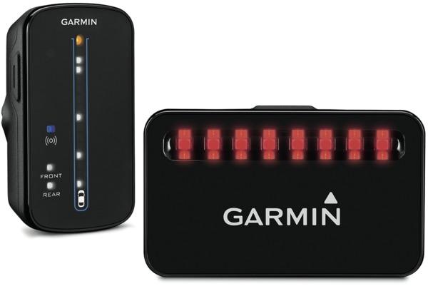 Garmins radarsysteem voor de fiets bestaat uit een achterlicht met geïntegreerde radar (rechts) en een display-unit.