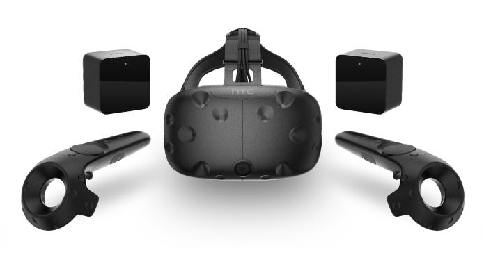 De HTC Vive bestaat behalve uit de Virtual Reality-headset zelf ook uit twee Lighthouse-trackers en twee hand-controllers.