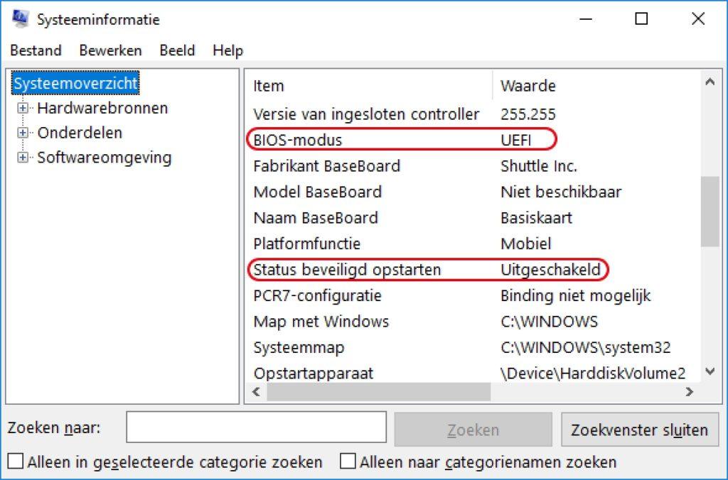 uefi start secure boot BIOS modus opstarten