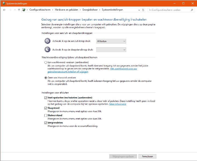 Windows 10 snel opstarten uitschakelen