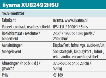 iiyama xub2492hsu tabel
