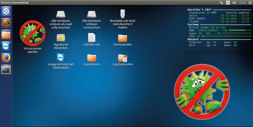 Via de desktop van Desinfec't stuur je alledrie de scanners op virusjacht en maak je met het live-systeem een usb-stick. Het Dashboard rechtsboven laat zien of de signatures zijn bijgewerkt.