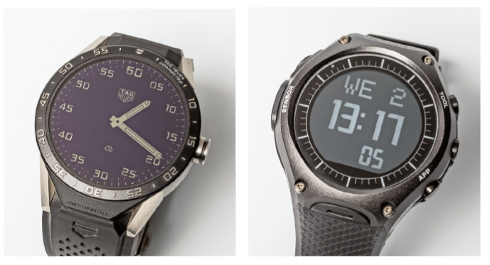 De Tag Heuer Connected (links) en de WSD-F10 van Casio