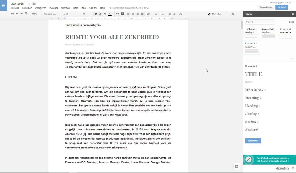 Google Documenten office add-on uitbreiding Styles
