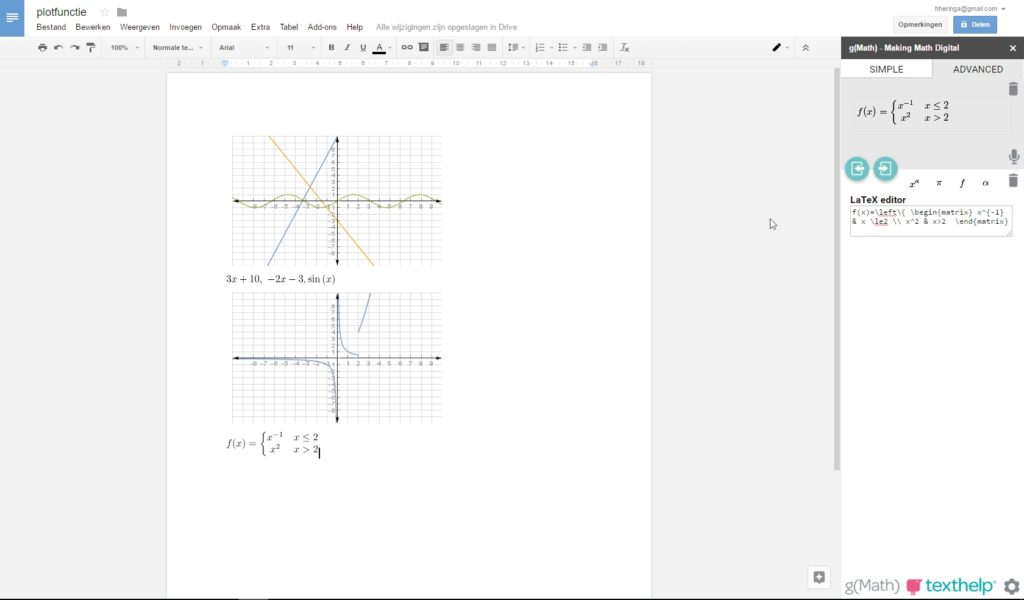 Google Documenten office add-on uitbreiding g(Math)
