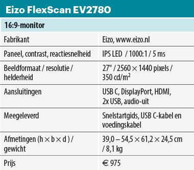 Eizo EV2780 monitor - specificaties