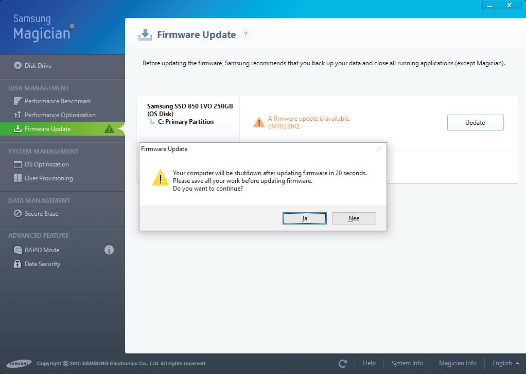 Voordat je de firmware van een ssd gaat updaten, moet je een back-up van je data maken – dus niet alleen de openstaande bestanden backuppen zoals Samsung adviseert.