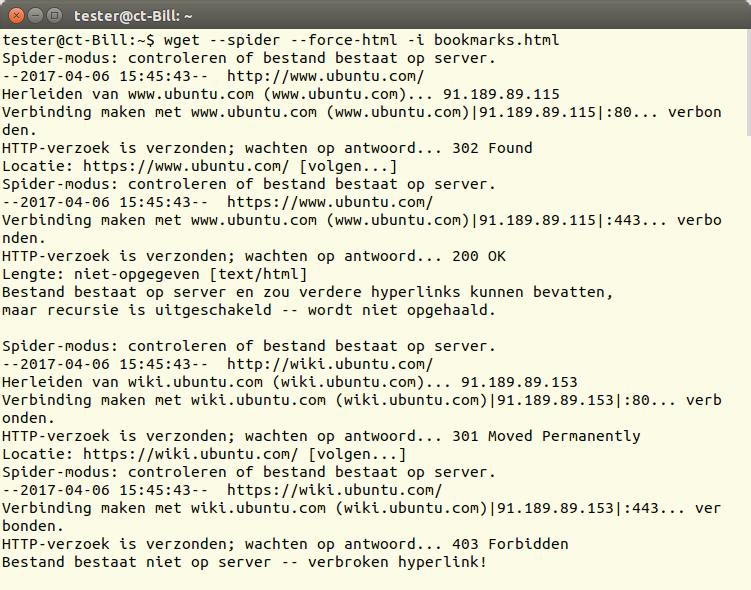 Hier controleert wget enkele bladwijzers. Als een server de toegang weigert, bestempelt wget de bijbehorende url als ongeldig – zoals in het voorbeeld onderaan.