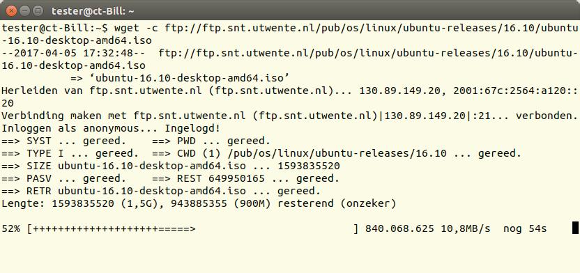 Als een download onderbroken werd, kan wget hem via een andere server voortzetten. De plustekens in de voortgangsbalk geven het deel aan dat al eerder gedownload was.