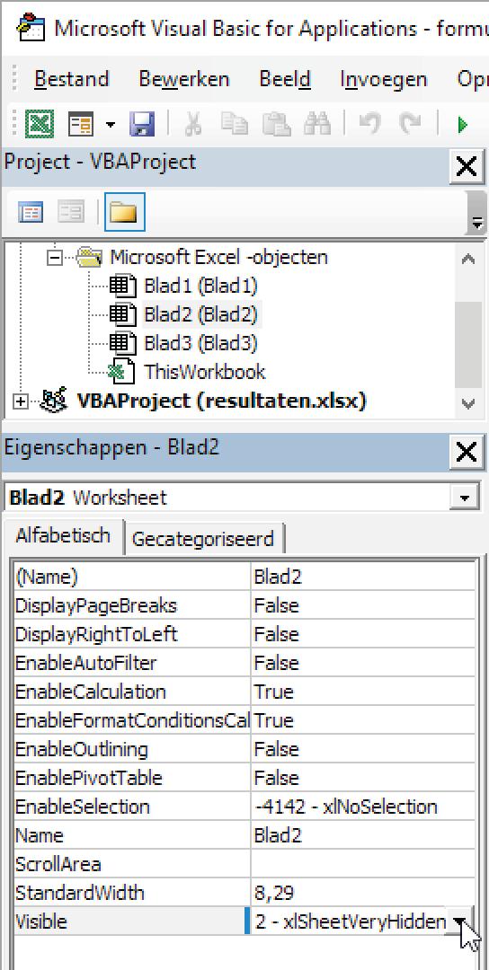 Met 'VeryHidden' wordt het blad verborgen en is het niet meer zichtbaar als je de Visual Basic-editor hebt gesloten.