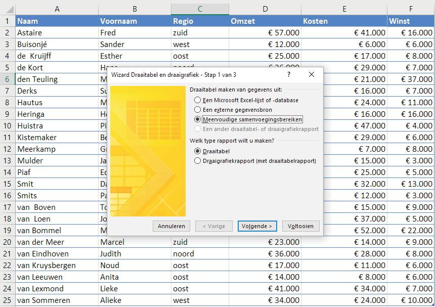 Met de wizard Draaitabel en draaigrafiek van Excel kun je meerdere bereiken selecteren voor een analyse.