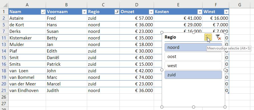 Met een tabel kun je snel gegevens analyseren. Met de combinatie Alt+S kun je meerdere bereiken activeren.
