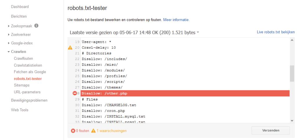 Googles tool voor robots.txt voorkomt ernstige problemen bij het indexeren.