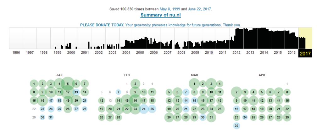 Archive.org heeft inmiddels duizenden snapshots van afzonderlijke webpagina's opgeslagen.