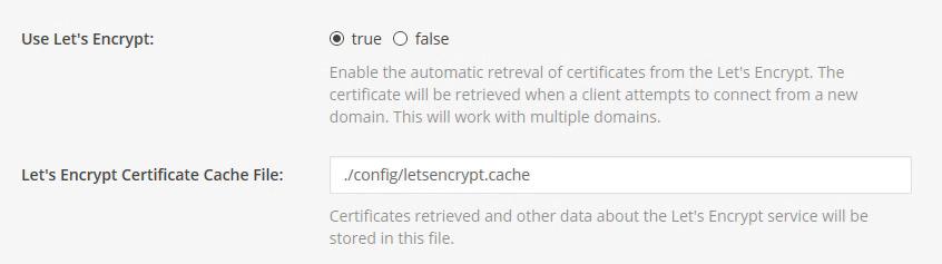 Het aanmaken van Let's-Encrypt-certificaten kan door Mattermost zelf gedaan worden.
