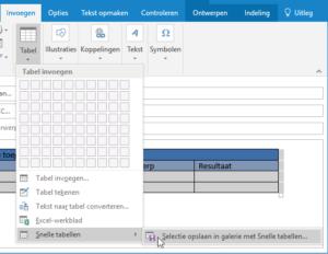 Outlook Galerie snelle tabellen