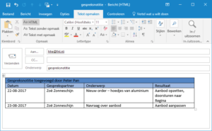 Outlook Snelle tabellen