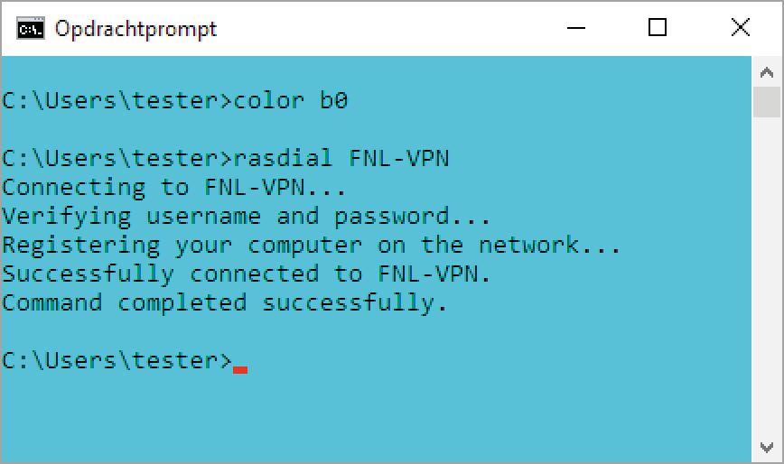Met een klein batch-script automatiseer je het opbouwen en verbreken van de verbinding voor de VPN en het externe bureaublad. De lelijke kleur is bewust gekozen.