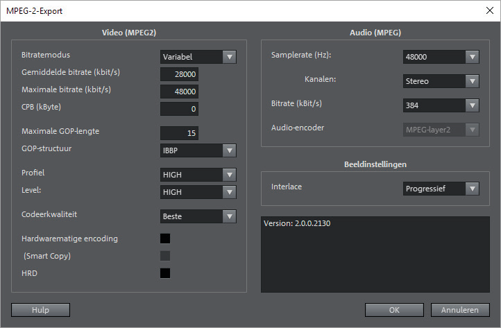 YouTube-instellingen: optimale bitrate