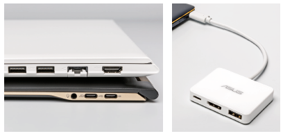 Lenovo heeft in de IdeaPad 510S (boven in afbeelding links) een uitklapbare netwerkpoort ingebouwd, Acer gaat bij de Swift 7 (onder) vrijwel volledig voor universele type C-poorten. Asus levert bij de ZenBook UX390UA (rechts) een adapter mee, zodat je tijdens het opladen ook nog gebruik kunt maken van een usb-stick of beeldscherm.