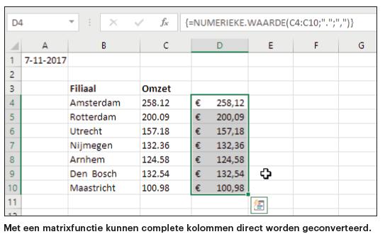 Excel-functies gegevens converteren