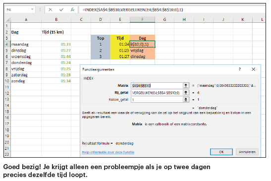 Excel-functies minimum maximum hardlopen