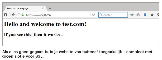 Apache webserver installeren startpagina