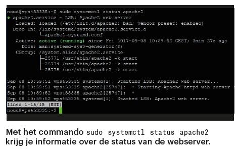 Apache webserver installeren status opvragen