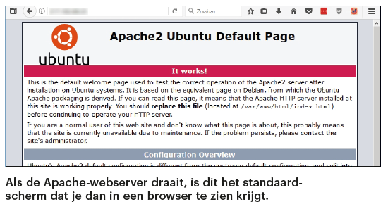 Apache webserver installeren welkomstpagina default page