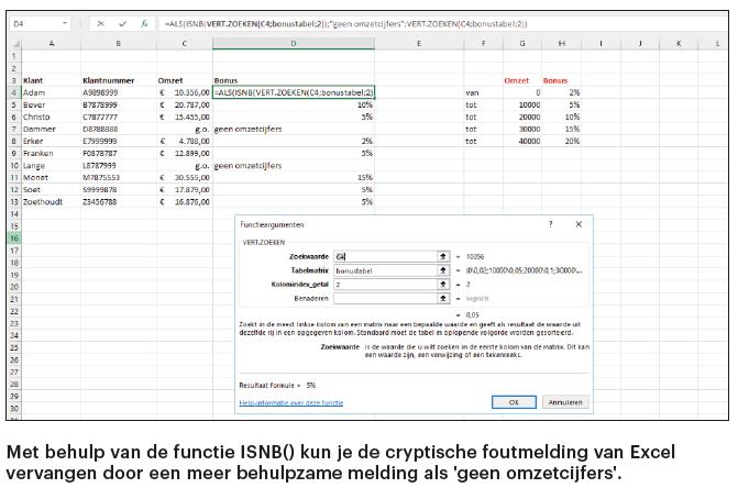 Excel eigen foutmelding ISNB melding