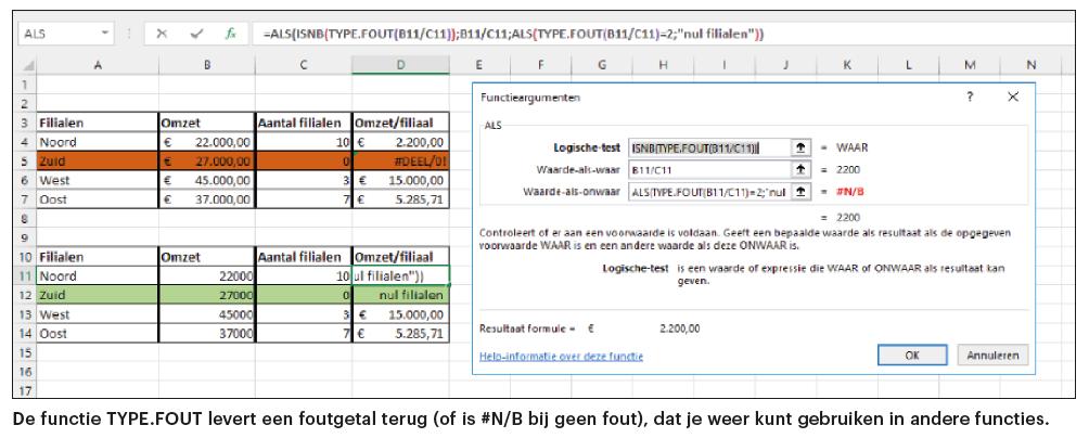 Excel eigen foutmelding TYPE.FOUT welke fout melding functie