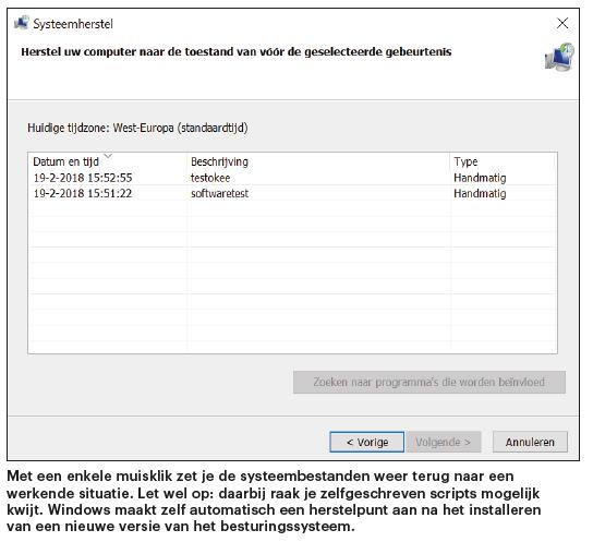 Windows herstellen repareren probleem oplossen herstelpunt terugzetten Systeemherstel