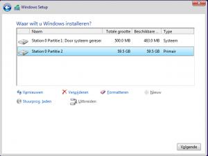 Windows installeren apart C D partitie partitioneren schijf ssd