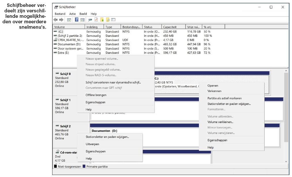 partitie beheren Windows Schijfbeheer snelmenu partitioneren