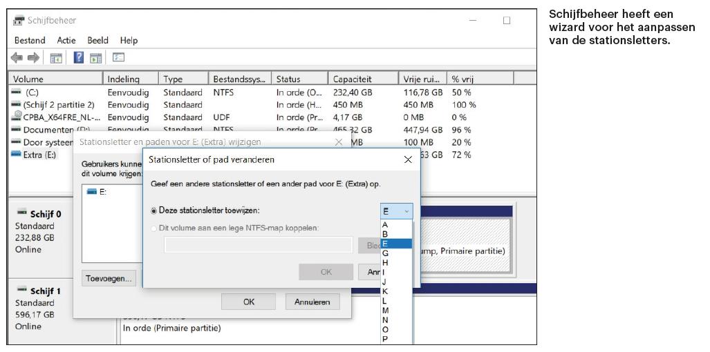 partitie beheren Windows Schijfbeheer stationsletter aanpassen wijzigen wizard