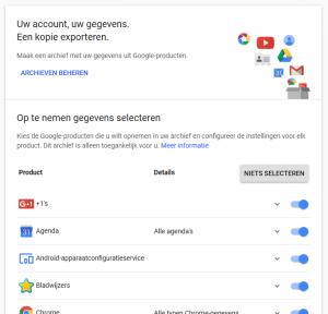 Google gegevens downloaden back-up Google Foto lokaal lokale kopie back-uppen