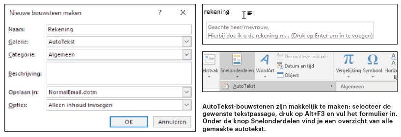 Outlook snel handig werken tips verzonden bericht autocorrectie spelling typen categorie autotekst fragment automatisch