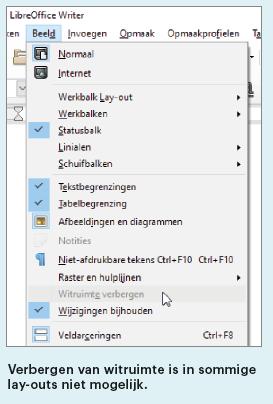 Writer witruimte verbergen LibreOffice tekst pagina tussenruimte