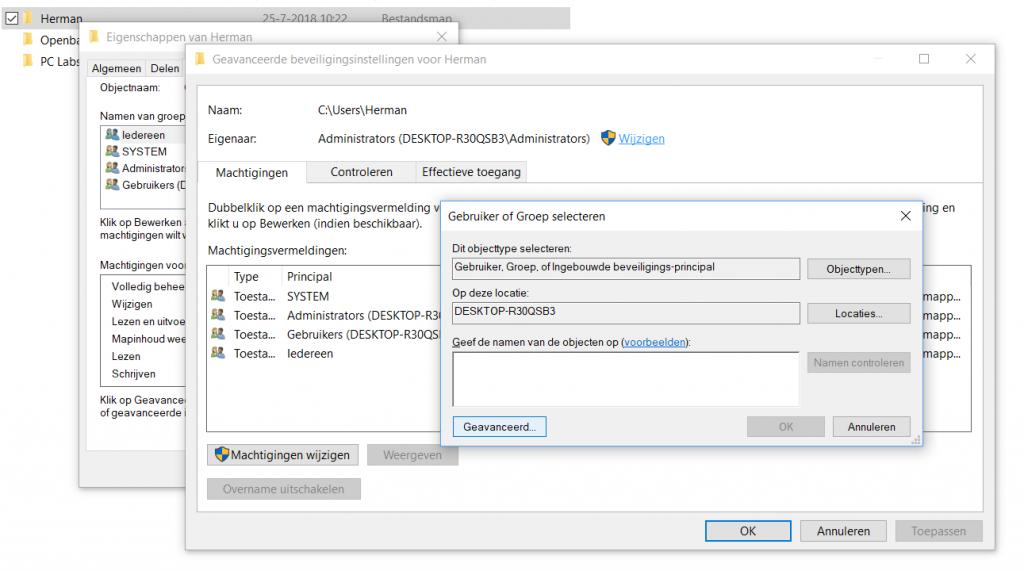geen toegang Windows map bestanden herinstallatie ssd eigenaar machtiging volledige toegang