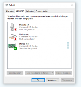 geluid opnemen Windows 10 stereo YouTube Spotify opname geluidskaart bron freeware