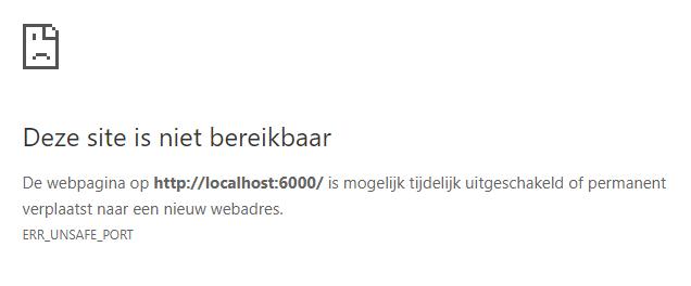 Chrome foutmelding poort site niet bereikbaar