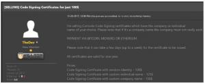 Verkoop code-signing certificaten