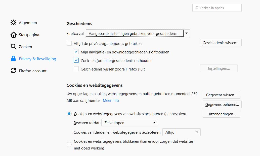 wachtwoord suggestie in Firefox verwijderen via instellingen