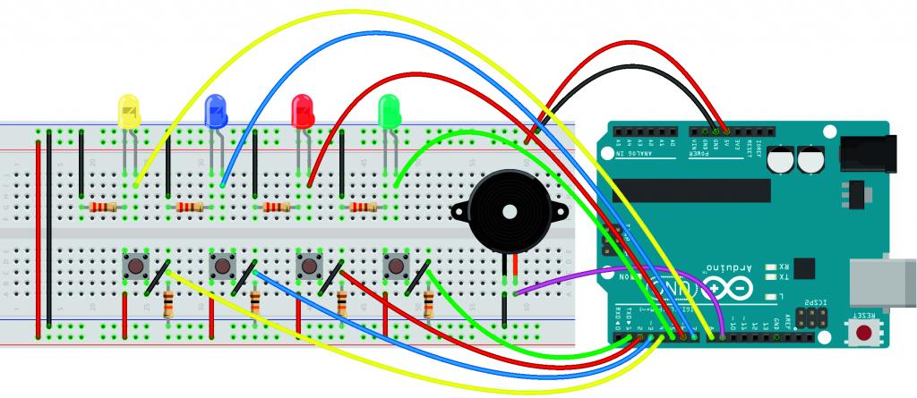Arduino project spel zelfbouw Simon schakeling component