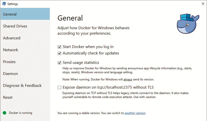 Docker voordelen Windows 10 ingebouwd Linux image