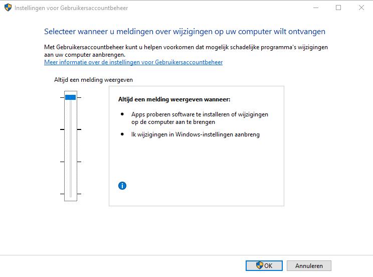 Windows beveiligen UAC client instelling