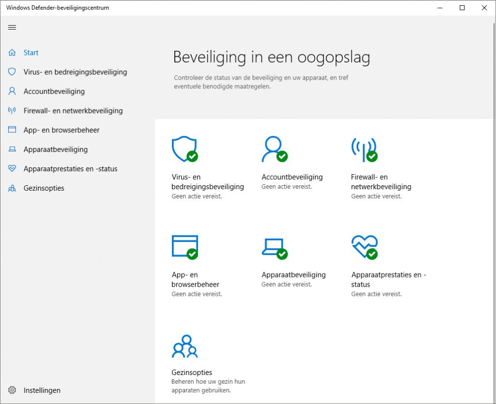 Windows beveiligen Windows Defender