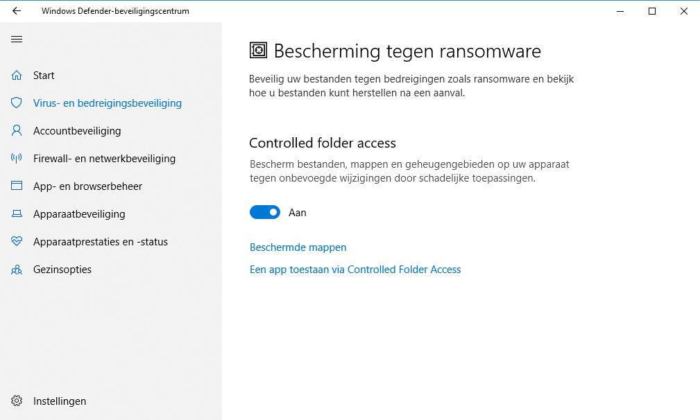 Windows beveiligen bescherming tegen ransomware